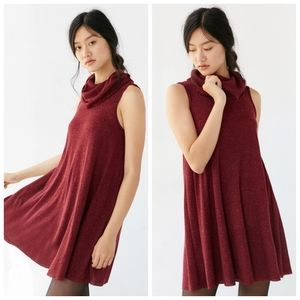BDG Cowlneck Red Ribbed Knit Swing Sweater Dress